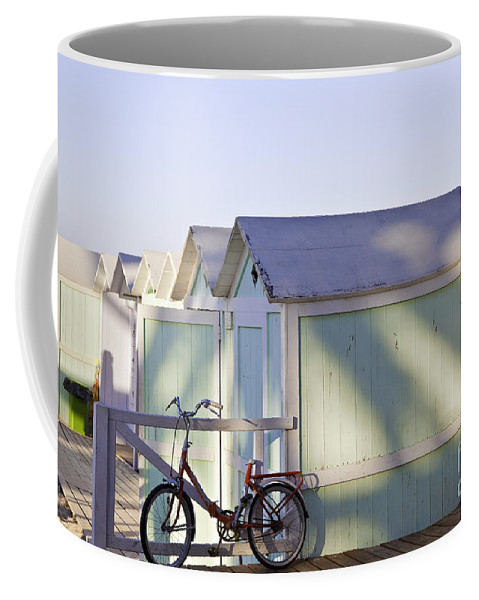 Cabana Coffee Mug featuring the photograph Red Bicycle At Mondello Beach by Madeline Ellis