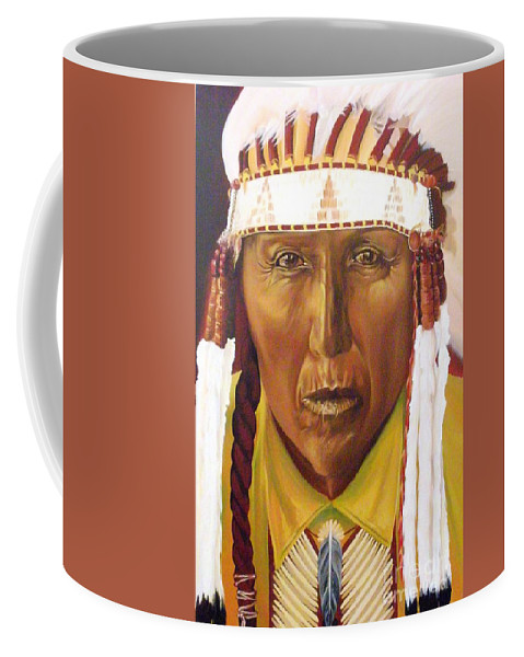 Native American Coffee Mug featuring the painting Red Bird by Annalise Kucan