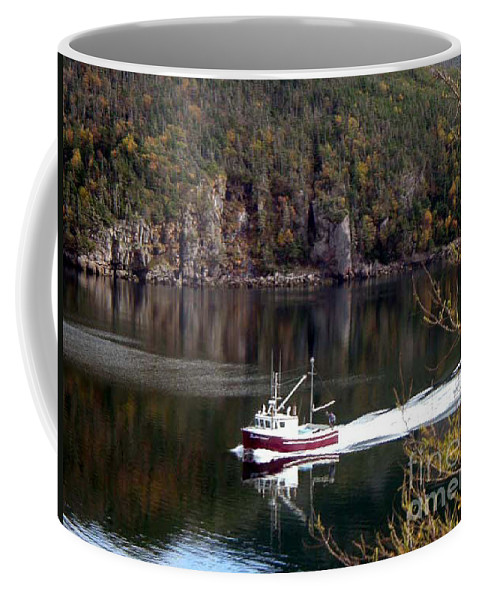 Red Boat Coffee Mug featuring the photograph Red Boat Returning From Sea by Barbara Griffin