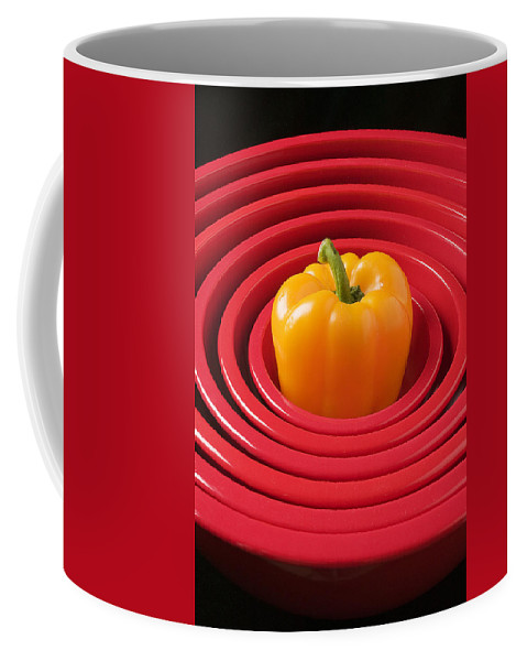 Red Bowls Coffee Mug featuring the photograph Red Bowls And Pepper by Garry Gay