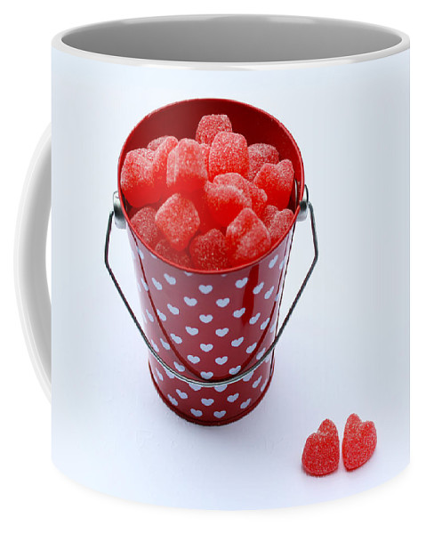 Valentines Day Coffee Mug featuring the photograph Red Bucket Of Hearts by Diana Haronis
