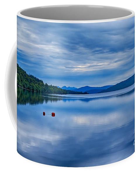 Loch Rannoch Canvas Coffee Mug featuring the photograph Red Buoys On Loch Rannoch by Chris Thaxter
