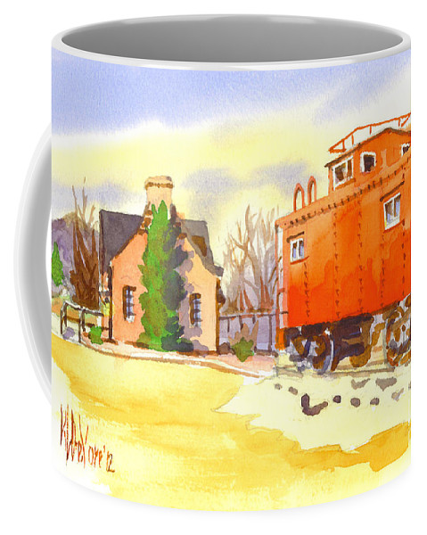 Red Caboose At Whistle Junction Ironton Missouri Coffee Mug featuring the painting Red Caboose At Whistle Junction Ironton Missouri by Kip DeVore