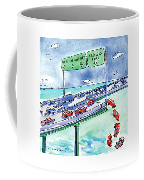 Red Cars Drop Off A Bridge Under A Sign That Says Coffee Mug