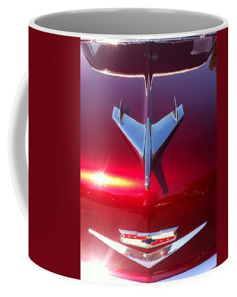 Red Car Hood Coffee Mug featuring the photograph Red Chevy Car Hood by Susan Garren