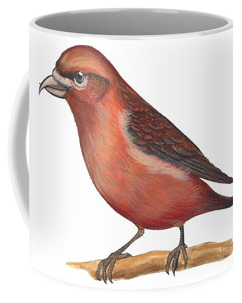 No People; Horizontal; Side View; Full Length; White Background; One Animal; Wildlife; Close Up; Zoology; Illustration And Painting; Bird; Branch; Perching; Beak; Feather; Red; Red Crossbill; Loxia Curvirostra Coffee Mug featuring the drawing Red Crossbill by Anonymous