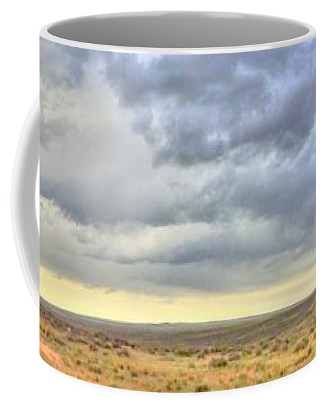 Panorama Coffee Mug featuring the photograph Red Dirt Blue Storm by Lanita Williams