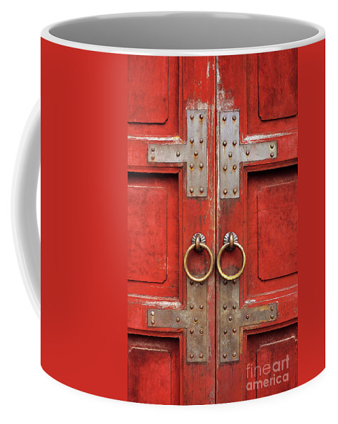 Vietnam Coffee Mug featuring the photograph Red Doors 01 by Rick Piper Photography