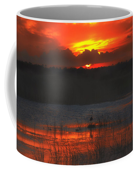 Red Coffee Mug featuring the photograph Red Dusk by Louise Hill