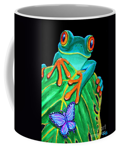 Red Eyed Tree Frog Coffee Mug featuring the painting Red-eyed Tree Frog And Butterfly by Nick Gustafson