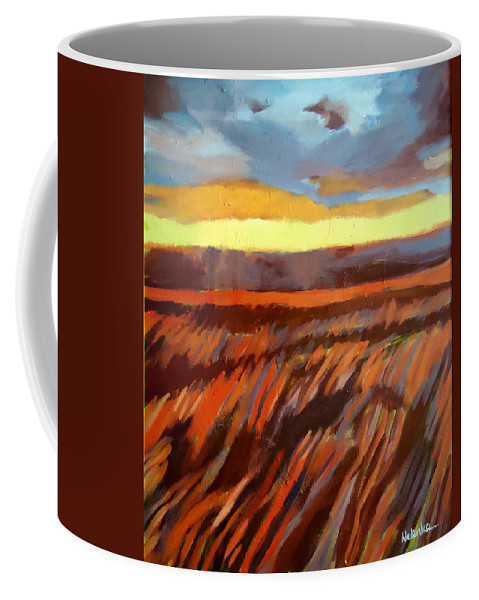 Landscape Coffee Mug featuring the painting Red Field by Helena Wierzbicki