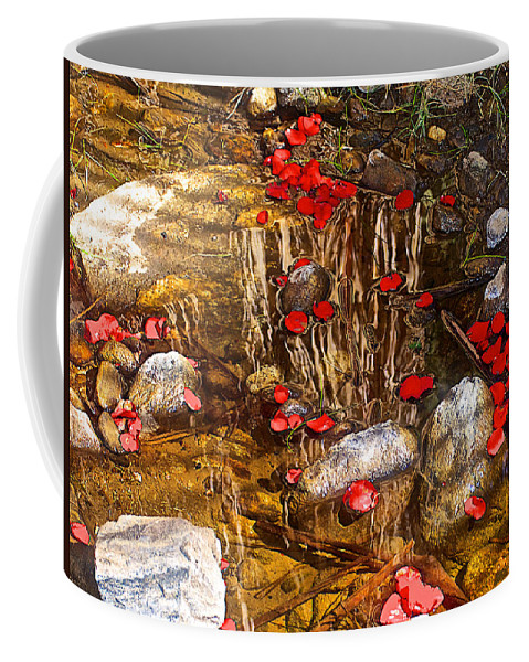 Red Flower Petals In Creek In Lower Palm Canyon In Indian Canyons Near Palm Springs Coffee Mug featuring the photograph Red Flower Petals In Creek In Lower Palm Canyon In Indian Canyons Near Palm Springs-california by Ruth Hager