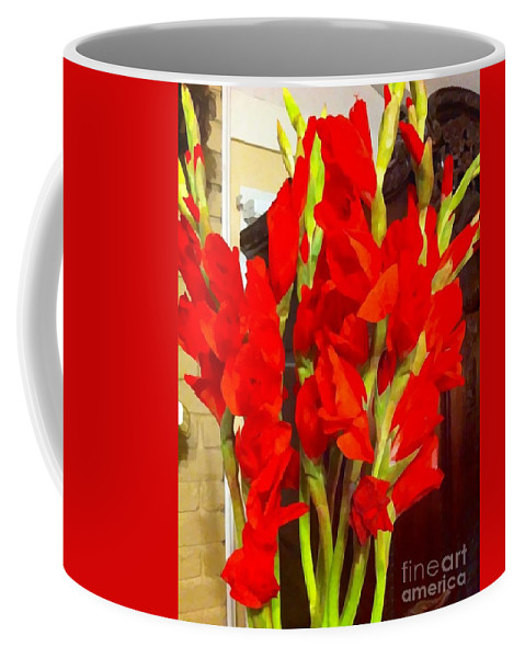 Red Glads Coffee Mug featuring the photograph Red Glads Blooming by Saundra Myles