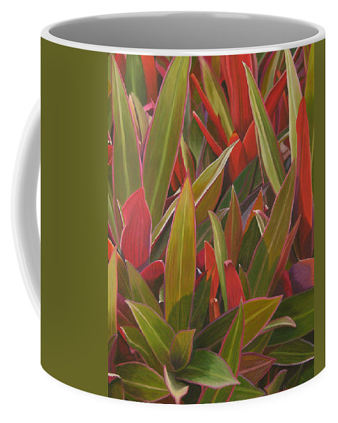 Plants Coffee Mug featuring the painting Red Green And Purple by Thu Nguyen