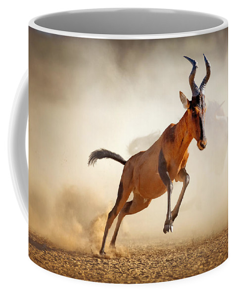 Hartebeest Coffee Mug featuring the photograph Red Hartebeest Running In Dust by Johan Swanepoel