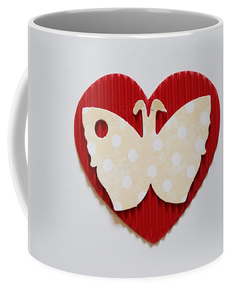 Red Heart With Butterfly Coffee Mug featuring the photograph Red Heart With Butterfly by Annie Adkins