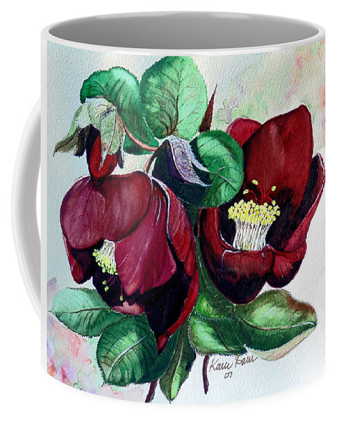Red Helleborous Painting Flower Painting  Botanical Painting Watercolor Painting Original Painting Floral Painting Flower Painting Red Painting  Greeting Painting Coffee Mug featuring the painting Red Helleborous by Karin Dawn Kelshall- Best