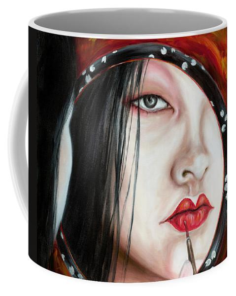 Japanese Woman Coffee Mug featuring the painting Red by Hiroko Sakai