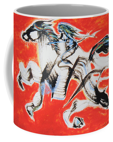 Abstract Painting Coffee Mug featuring the painting Red Horse And Rider by Asha Carolyn Young