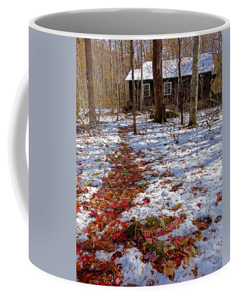 Red Leaves On Snow Coffee Mug featuring the photograph Red Leaves On Snow - Cabin In The Woods by Rebecca Korpita