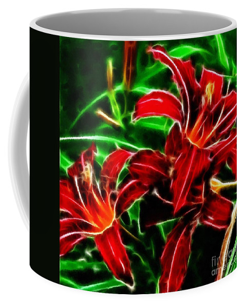 Red Lilies Expressive Brushstrokes Coffee Mug featuring the photograph Red Lilies Expressive Brushstrokes by Barbara Griffin