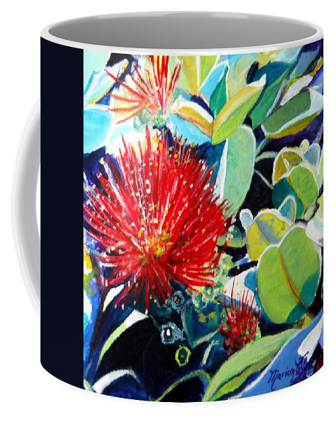 Hawaiian Flower Coffee Mug featuring the painting Red Ohia Lehua Flower by Marionette Taboniar