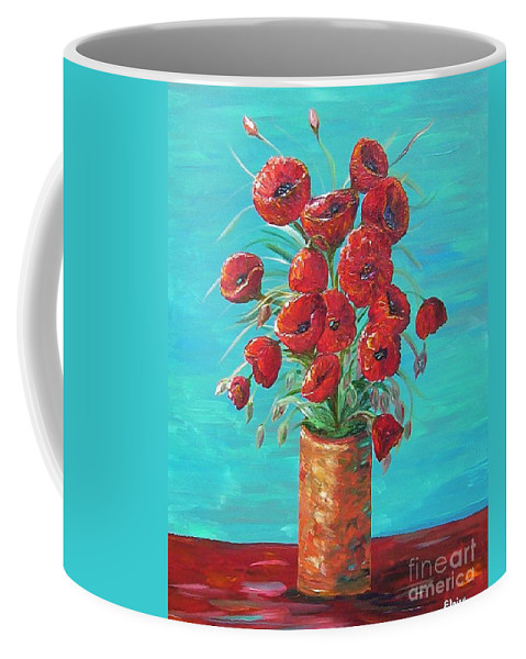 Poppy Coffee Mug featuring the painting Red On My Table by Eloise Schneider