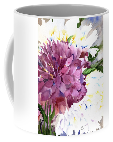Peony Coffee Mug featuring the painting Red Peony by Neela Pushparaj