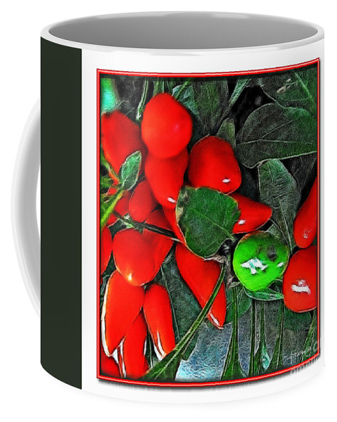 Botanical Coffee Mug featuring the photograph Red Pepper Plant by Joan Minchak