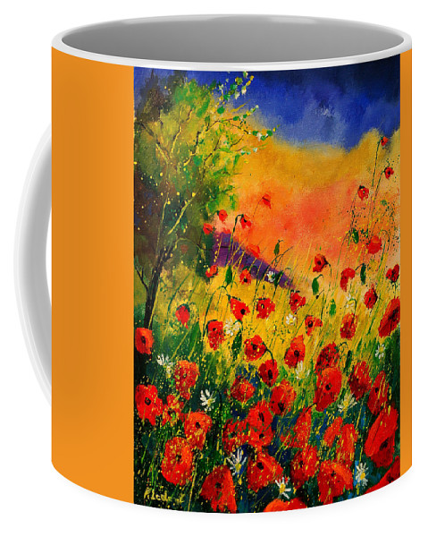 Poppies Coffee Mug featuring the painting Red Poppies 45 by Pol Ledent