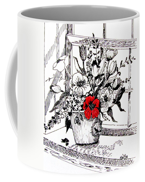 Still Life Coffee Mug featuring the drawing Red Poppy by Marilyn Smith