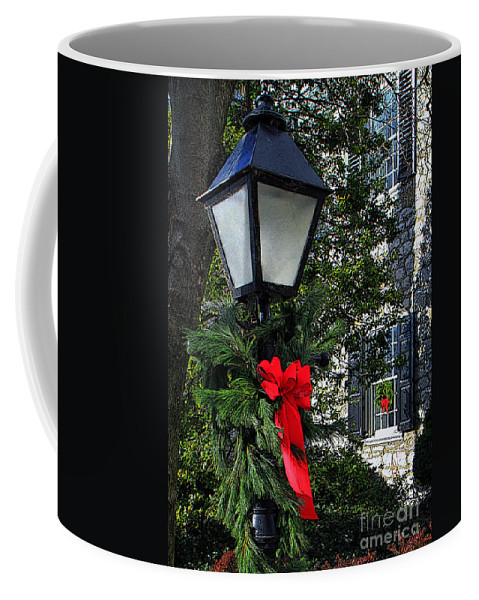 Wreaths Coffee Mug featuring the photograph Red Ribbon Christmas by Geoff Crego