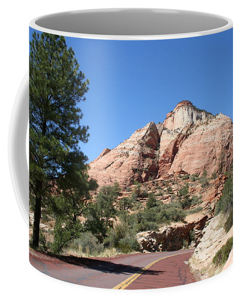 Mountain Coffee Mug featuring the photograph Red Road Zion Park by Christiane Schulze Art And Photography