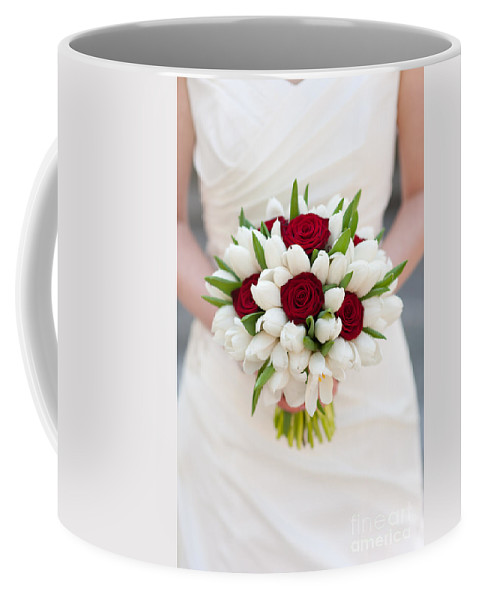 Bouquet Coffee Mug featuring the photograph Red Rose And White Tulip Wedding Bouquet by Lee Avison