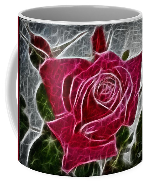 Red Rose Expressive Brushstrokes Coffee Mug featuring the photograph Red Rose Expressive Brushstrokes by Barbara Griffin