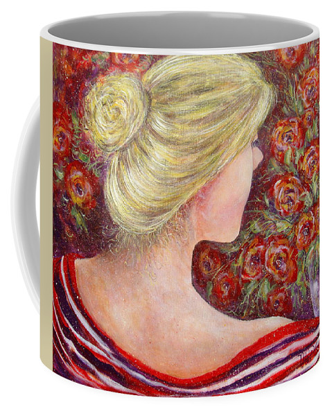 Female Coffee Mug featuring the painting Red Scented Roses by Natalie Holland
