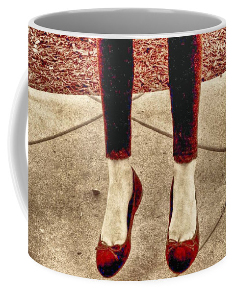 Red Shoe Print Coffee Mug featuring the photograph Red Shoes by Kristina Deane