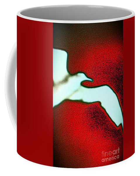 Seagull Coffee Mug featuring the photograph Red Sky Seagull by Jacqueline McReynolds