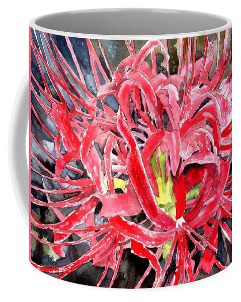 Watercolor Coffee Mug featuring the painting Red Spider Lily Flower Painting by Derek Mccrea