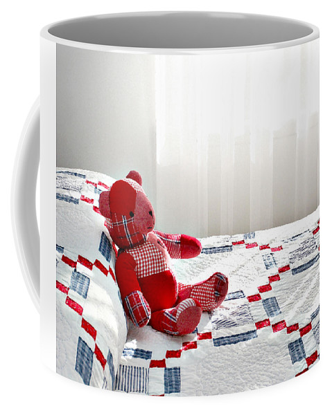 Cottage Style Coffee Mug featuring the photograph Red Teddy Bear by Art Block Collections
