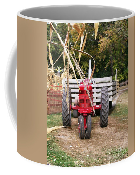 Tractor Coffee Mug featuring the photograph Red Tractor Ready To Roll by Laurie Eve Loftin