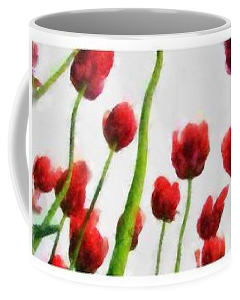 Hollander Coffee Mug featuring the photograph Red Tulips From The Bottom Up Triptych by Michelle Calkins