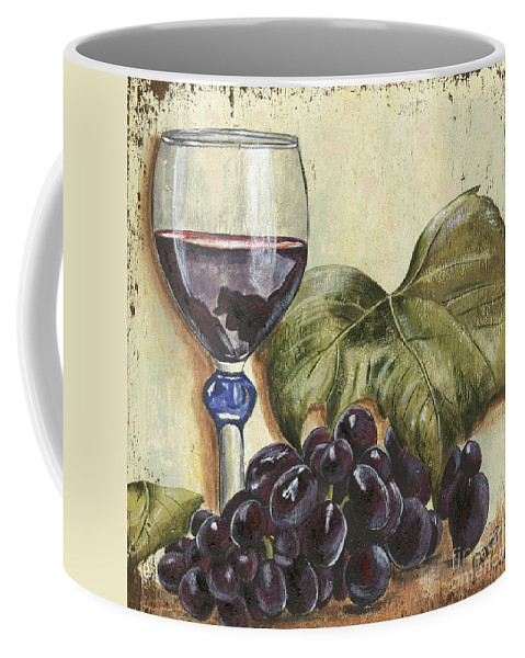 Wine Coffee Mug featuring the painting Red Wine And Grape Leaf by Debbie DeWitt