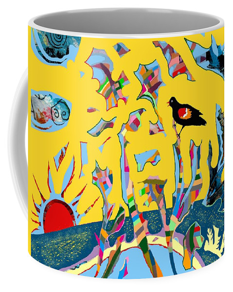 Red Wing Black Bird Sun Sunrise Yellow Trees Clouds Winged Sky Horizon Digital Coffee Mug featuring the digital art Redwing Blackbird Sunrise by Marcio Melo