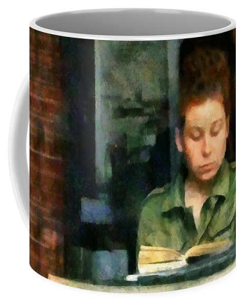 Woman Coffee Mug featuring the painting Redhead Reading A Book by RC DeWinter