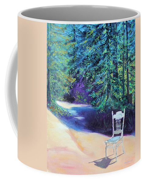 Landscape Painting Coffee Mug featuring the painting Redwood Path And White Chair by Asha Carolyn Young