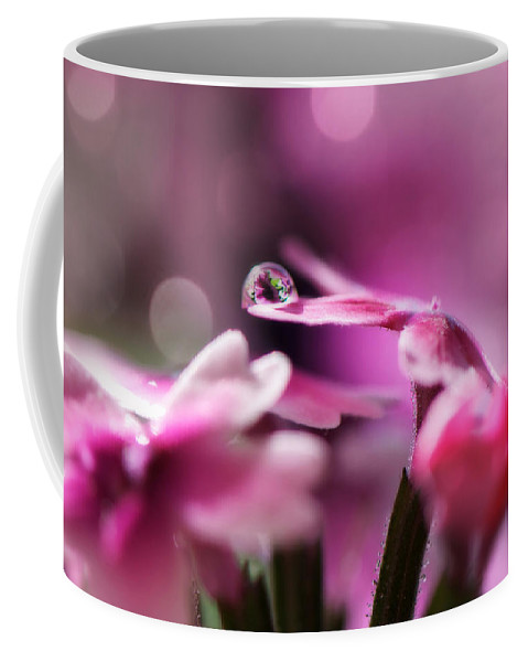 Water Drop Coffee Mug featuring the photograph Reflecting On Pink by Lisa Knechtel