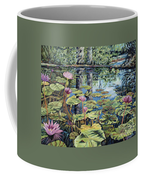 Lilly Pond Coffee Mug featuring the painting Reflecting Pond by Danielle Perry