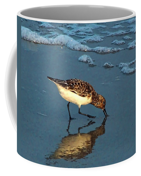 Sandpiper Coffee Mug featuring the photograph Reflection At Sunset by Sandi OReilly