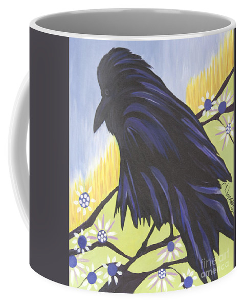 #raven Coffee Mug featuring the painting Reflection by Jacquelinemari